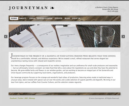 JourneymanRestaurant.com Home page