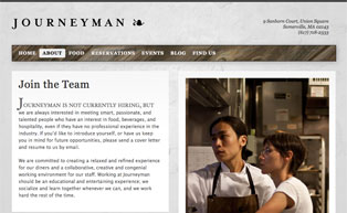 JourneymanRestaurant.com Join the Team page
