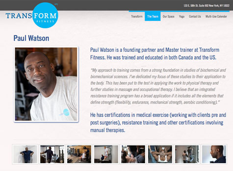 Transform Fitness - Staff Page