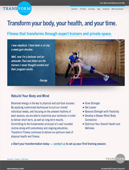 Transform Fitness - Home page
